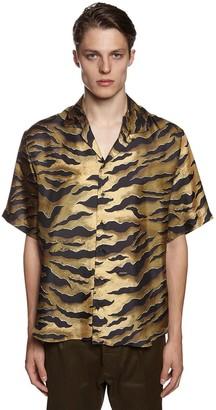 DSQUARED2 Tiger Print Silk Twill Bowling Shirt