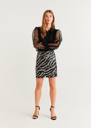 MANGO Sequin zebra miniskirt