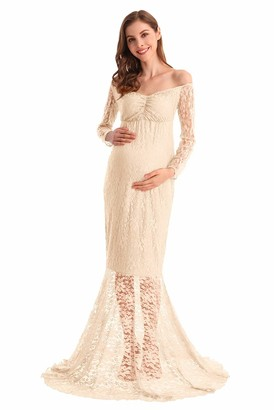 MYRISAM Pregnant Women Lace Mermaid Slim Fit Maxi Gown Maternity Long Sleeve V-Neck Wedding Photography Baby Shower Dress Beige S