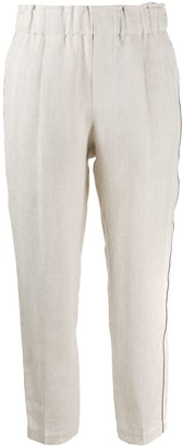 Brunello Cucinelli Brass-Embellished Cropped Trousers