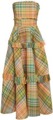 Lela Rose Fringed Plaid Cotton-Blend Strapless Midi Dress