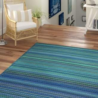 Beachcrest Home Marianne Turquoise/Moss Green Stripe Indoor/Outdoor Area Rug Rug Size: Rectangle 6' x 9'