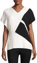 Narciso Rodriguez Colorblock V-Neck Short-Sleeve Top, Black/White
