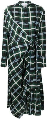 Christian Wijnants Plaid Check Wrap Silk Dress