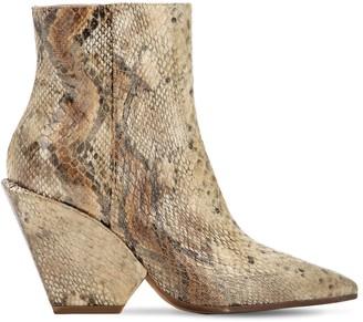 Elena Iachi 80mm Snake Print Fabric Ankle Boots