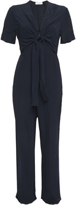 Sandro Duckie Knotted Crinkled Satin-jacquard Jumpsuit