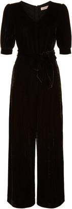 Traffic People Short Sleeve Velvet Hetty Jumpsuit In Black