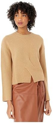 Jason Wu Twist Front Cashmere Long Sleeve Sweater (Camel) Women's Clothing
