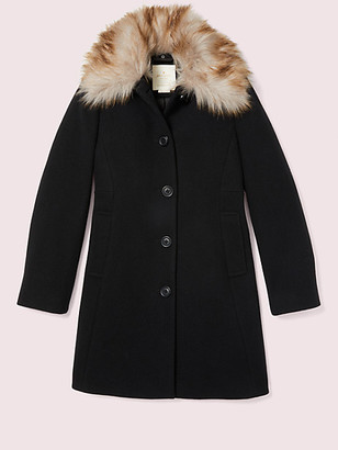 Kate Spade Out West Bow Back Fur Collar Coat