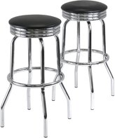 Winsome Wood Summit Swivel Bar Stools with Metal Legs, Faux Leather Seat, Set of 2