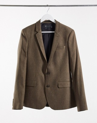 ASOS DESIGN wedding super skinny wool mix suit jacket in camel herringbone