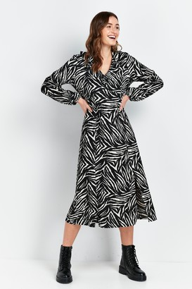 Wallis Monochrome Animal Print Frill Midi Dress