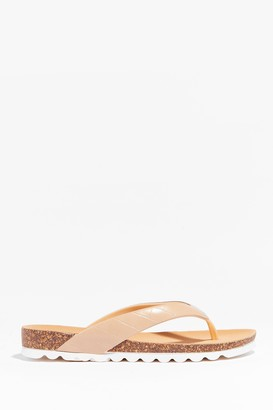 Nasty Gal Womens Croc It Out Faux Leather Flat Sandals - Beige