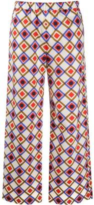 Aspesi Square Print Straight Trousers