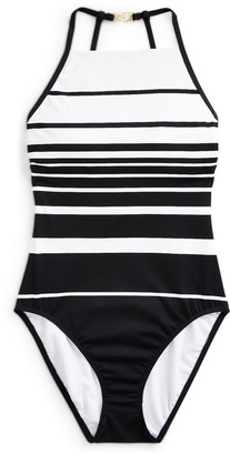 Ralph Lauren Striped High-Neck One-Piece