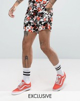 Reclaimed Vintage Inspired Shorts In White With Floral Print