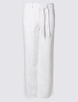 M&S Collection PETITE Pure Linen Wide Leg Trousers