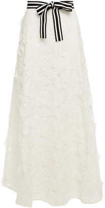 Zimmermann Linen And Silk-blend Guipure Lace Maxi Skirt