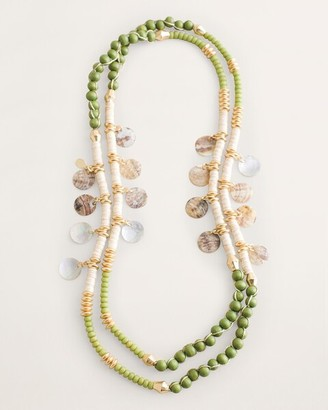 Chico's Green Single-Strand Beaded Necklace