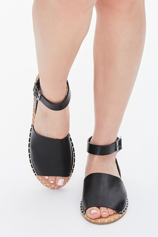 Thumbnail for your product : Forever 21 Faux Leather Ankle-Strap Flat Sandals