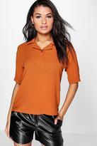 Boohoo Rita Textured Woven Polo Shirt