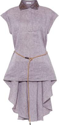 Brunello Cucinelli Belted Leather-trimmed Embellished Linen Shirt