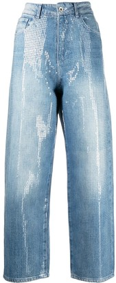 Emporio Armani Sequin-Embellished Cropped Jeans