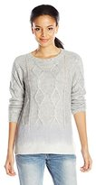 Michael Stars Women's Cable Knit Long Sleeve Crew with French Terry Mix
