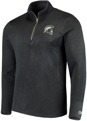 Champion Men's Charcoal Michigan State Spartans Ribbed Quarter-Zip Pullover