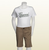 Gucci White T-Shirt With Green Script