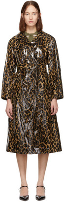 Miu Miu Beige Animal Print Cire Trench Coat