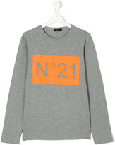 No21 Kids teen long sleeve printed T-shirt