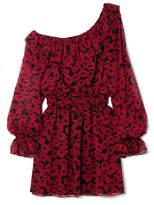 Saint Laurent One-shoulder Floral-print Silk-georgette Mini Dress - Red