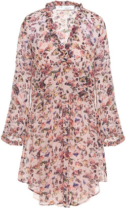IRO Ruffle-trimmed Floral-print Crepe De Chine Mini Dress