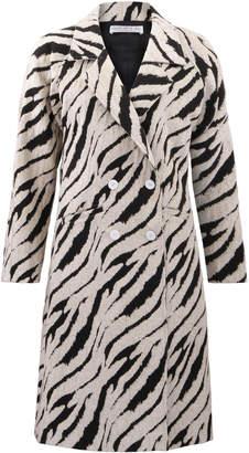 Amal Al Mulla Loose Fitting Long Sleeve Textured Jacquard Coat