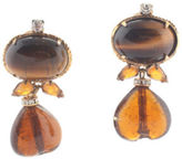 Iradj Moini Bronze Tigers Eye Amber Crystal Clip On Earrings
