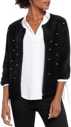 Nic+Zoe Rhinestone Detail Eyelash Cardigan Sweater