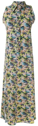 AMIR SLAMA Sleeveless Floral Shirt Dress