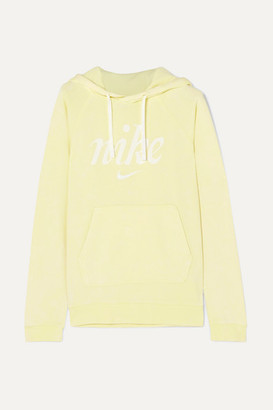 Nike Printed French Cotton-terry Hoodie - Lime green