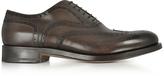 Santoni Oscar Dark Brown Leather Wingtip Derby Shoes