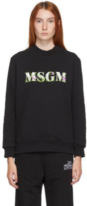 MSGM Black Floral Logo Sweatshirt