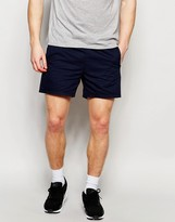 Asos Slim Chino Shorts With Elasticated Waist In Navy