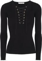 Maje Lace-up Ribbed Stretch-knit Sweater - Black