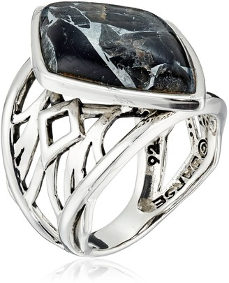 Barse Sterling Silver and Black Silver Matrix Obsidian Ring Size 6