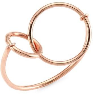 ginette_ny 18K Rose Gold Tiny Interlocking Circle Ring