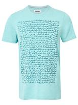 Jeanswest Doyle Short Sleeve Print Crew Tee-Teal Marle-S