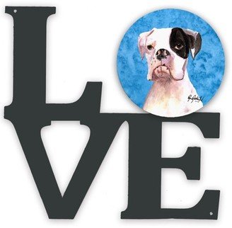 Caroline's Treasures Blue Cooper the Boxer Wipe your Paws Metal Wall Artwork LOVE