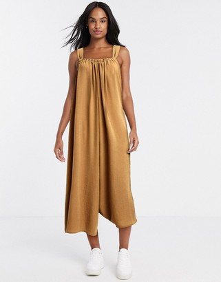 ASOS DESIGN cami smock jumpsuit with tie back detail in camel