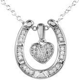 JCPenney FINE JEWELRY ASPCA Tender Voices 1/5 CT. T.W. Diamond Heart Horseshoe Pendant Necklace