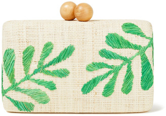 Kayu Noreen Embroidered Woven Straw Box Clutch